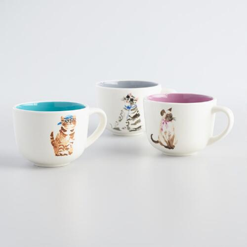 Posh Pet Cat Mugs Set of 3