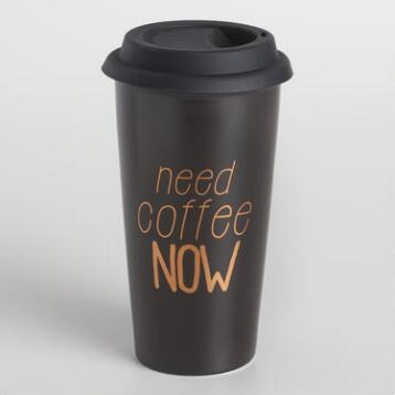 Need Coffee Now Stoneware Travel Not a Paper Cup Set of 2