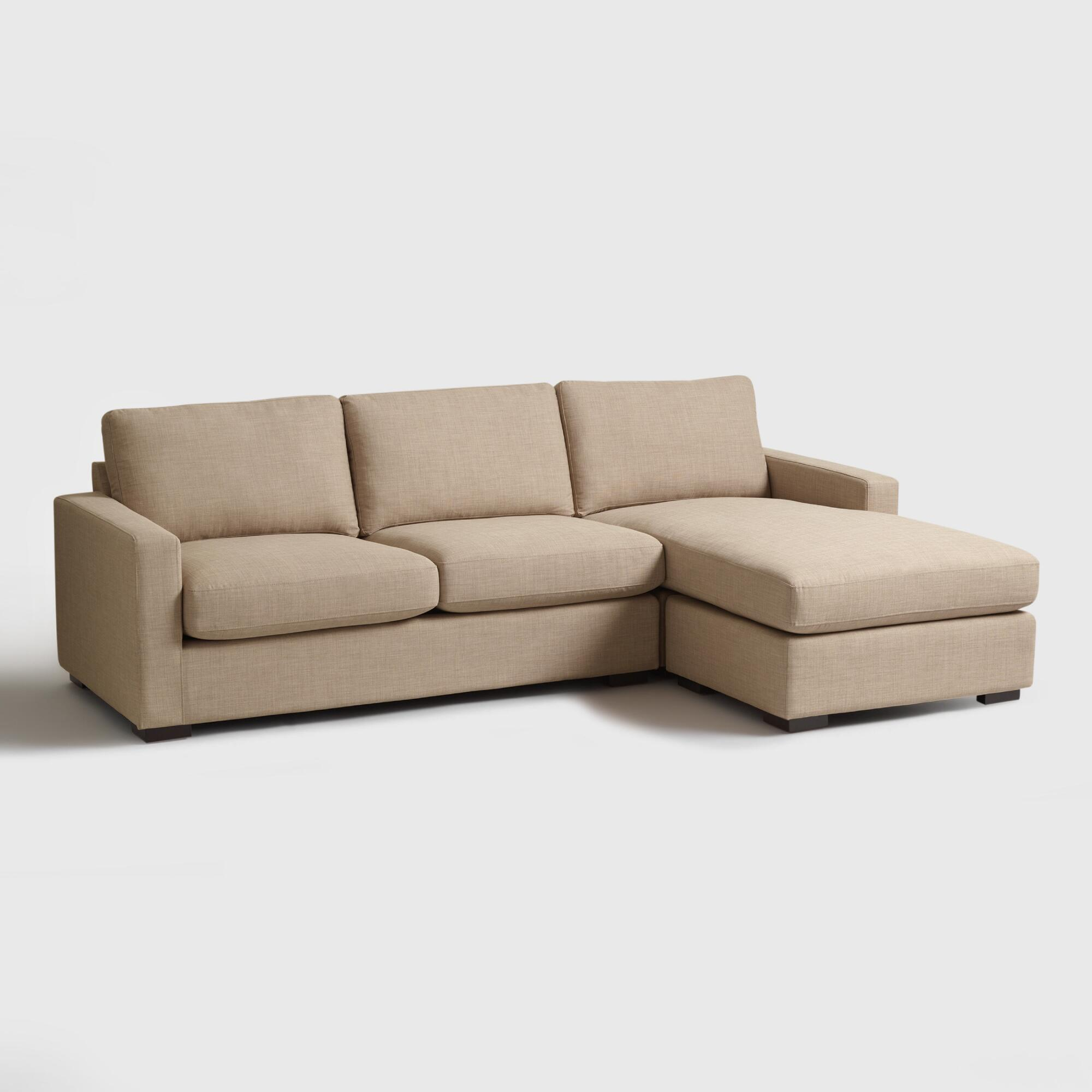 taupe woven upholstered burnett sofa and chaise world market