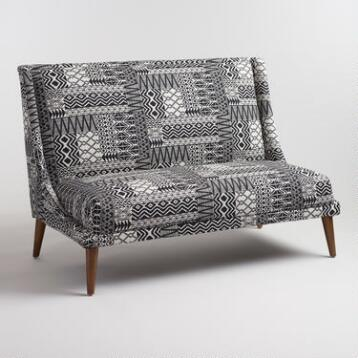 Black and White Tribal Jacquard Jaxton Love Seat