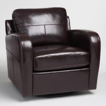 Espresso Bi Cast Leather Mason Swivel Chair