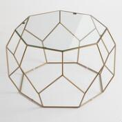 Faceted Metal Coffee Table with Glass Top