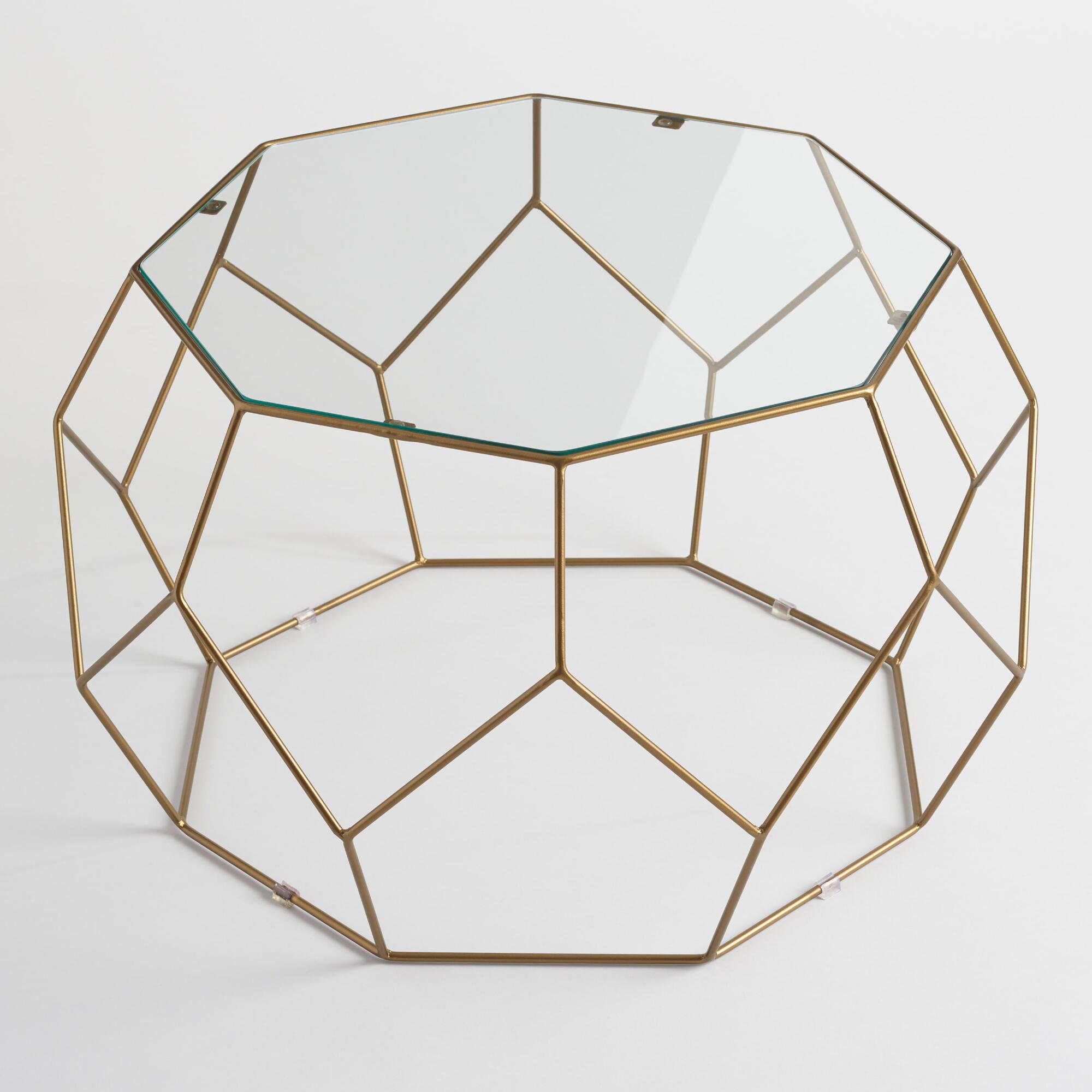 Faceted metal coffee table with glass top world market Metal glass top coffee table