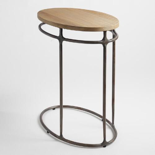 Wood and Metal Oval Laptop Table