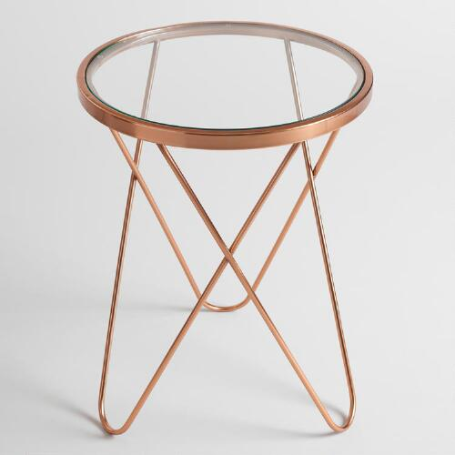 Rose Gold Tomlin Accent Table with Glass Top
