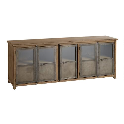 Large Wood and Metal Langley Storage Cabinet