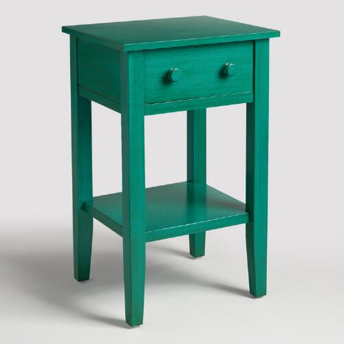 Blue Wood Sara Nightstand