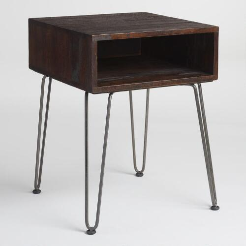 Rustic Brown Wood and Metal Cubby Accent Table