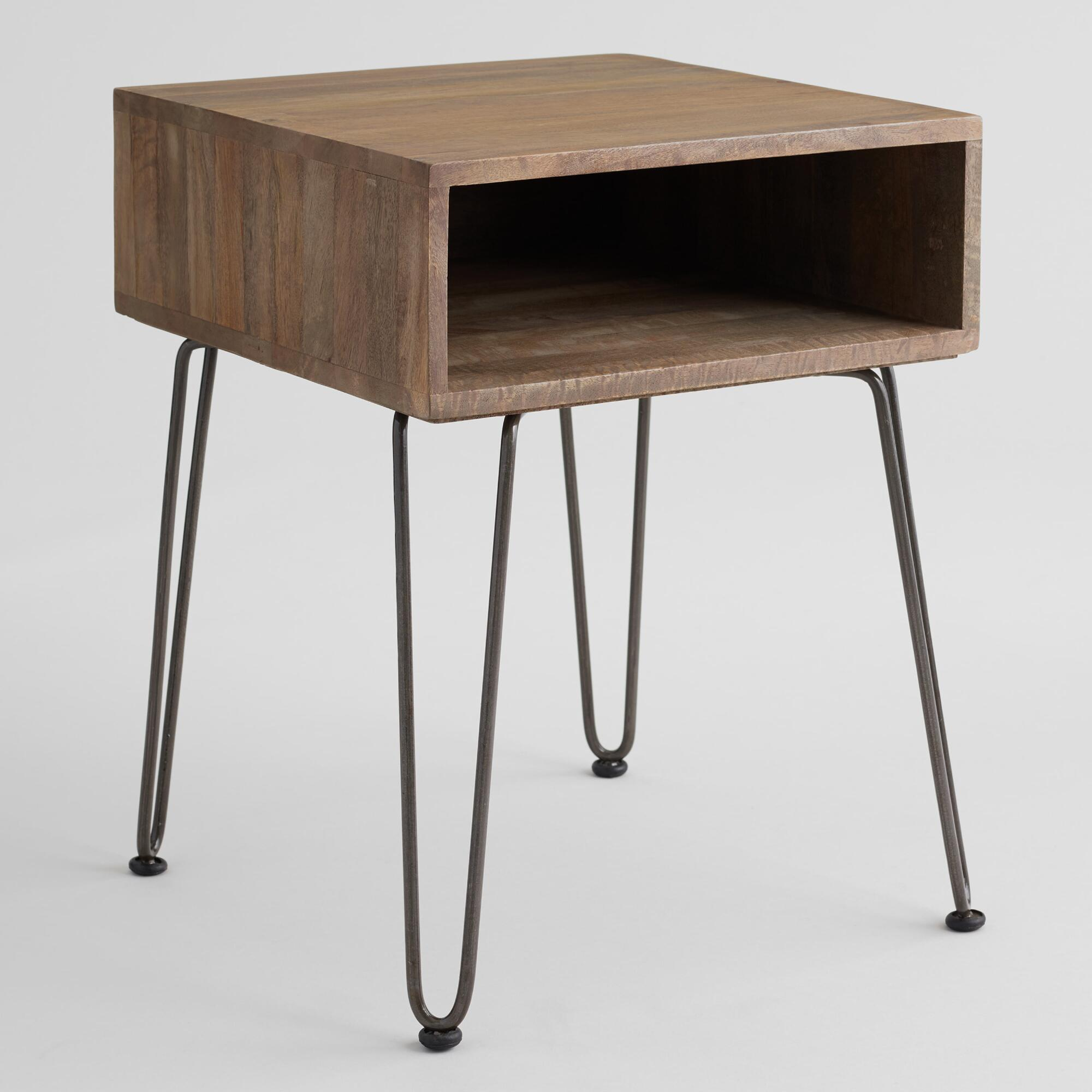 gray wood and metal cubby accent table world market. Black Bedroom Furniture Sets. Home Design Ideas