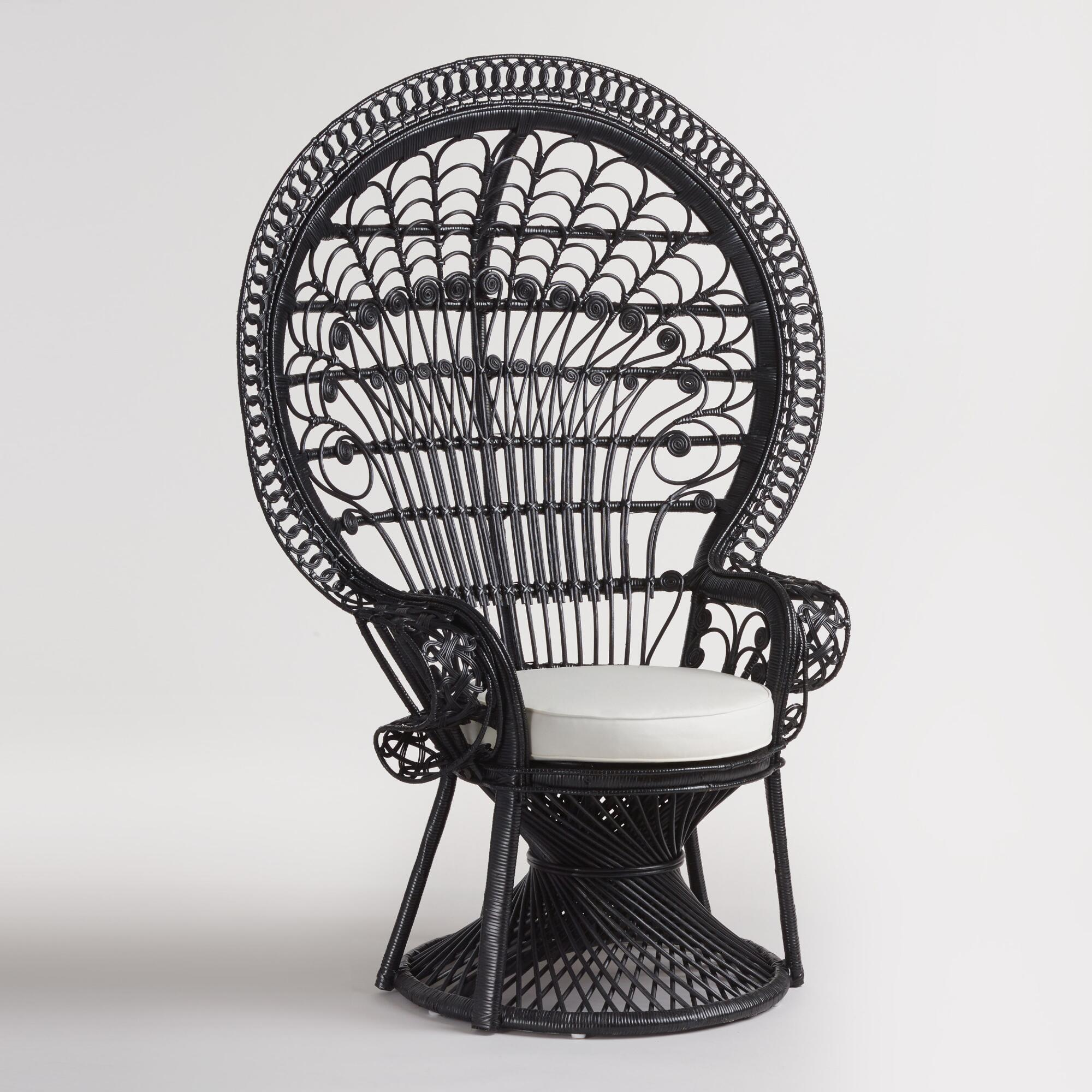 Black Wicker Peacock Chair World Market