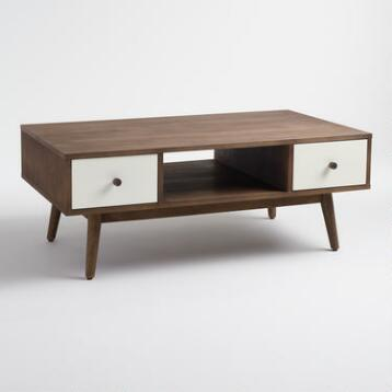 Wood and White Lacquer Coffee Table