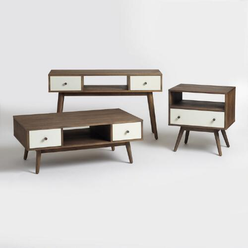 Wood and White Lacquer Occasional Table Collection