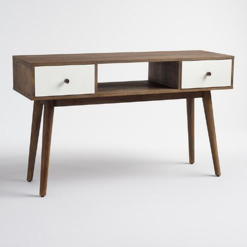 Wood and White Lacquer Media Stand
