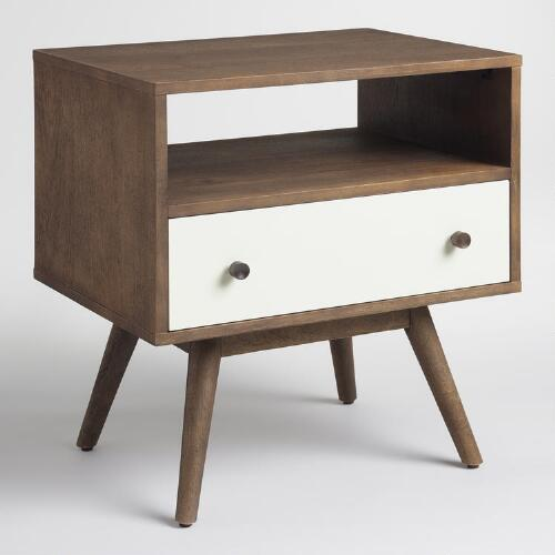 Wood and White Lacquer Accent Table