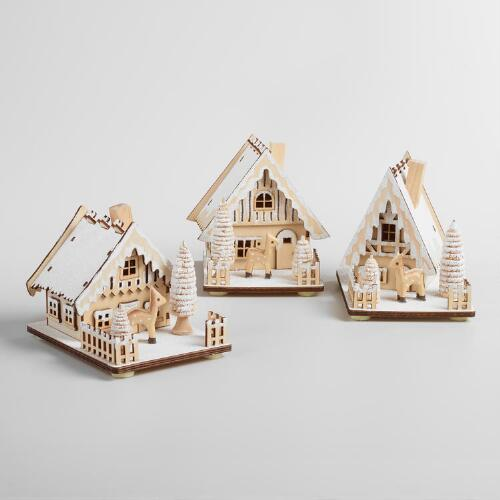 Wood House with Snow Decor Set of 3