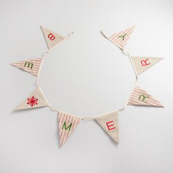 Pinstriped Fabric Be Merry Flag Garland