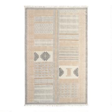 5'x8' Block Print Cotton Suri Area Rug