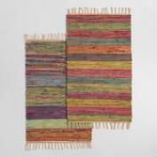 2'x3' Multicolor Stripe Woven Cotton Chindi Area Rug
