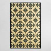 4'x6' Black Tile Bamboo Area Rug