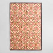 4'x6' Red and Orange Floral Bamboo Area Rug