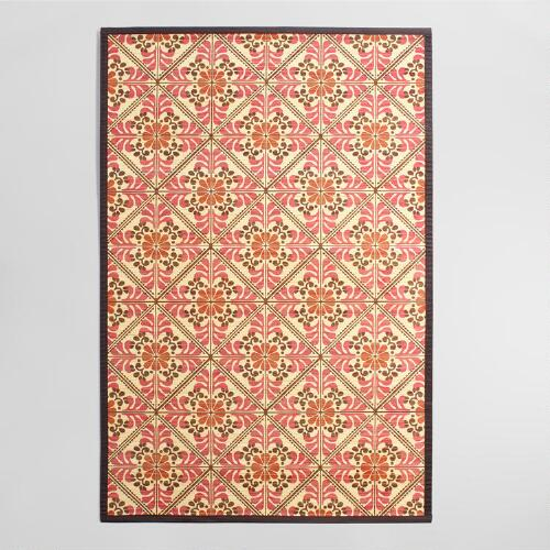 4 39 x6 39 red and orange floral bamboo area rug world market for Red floral area rug