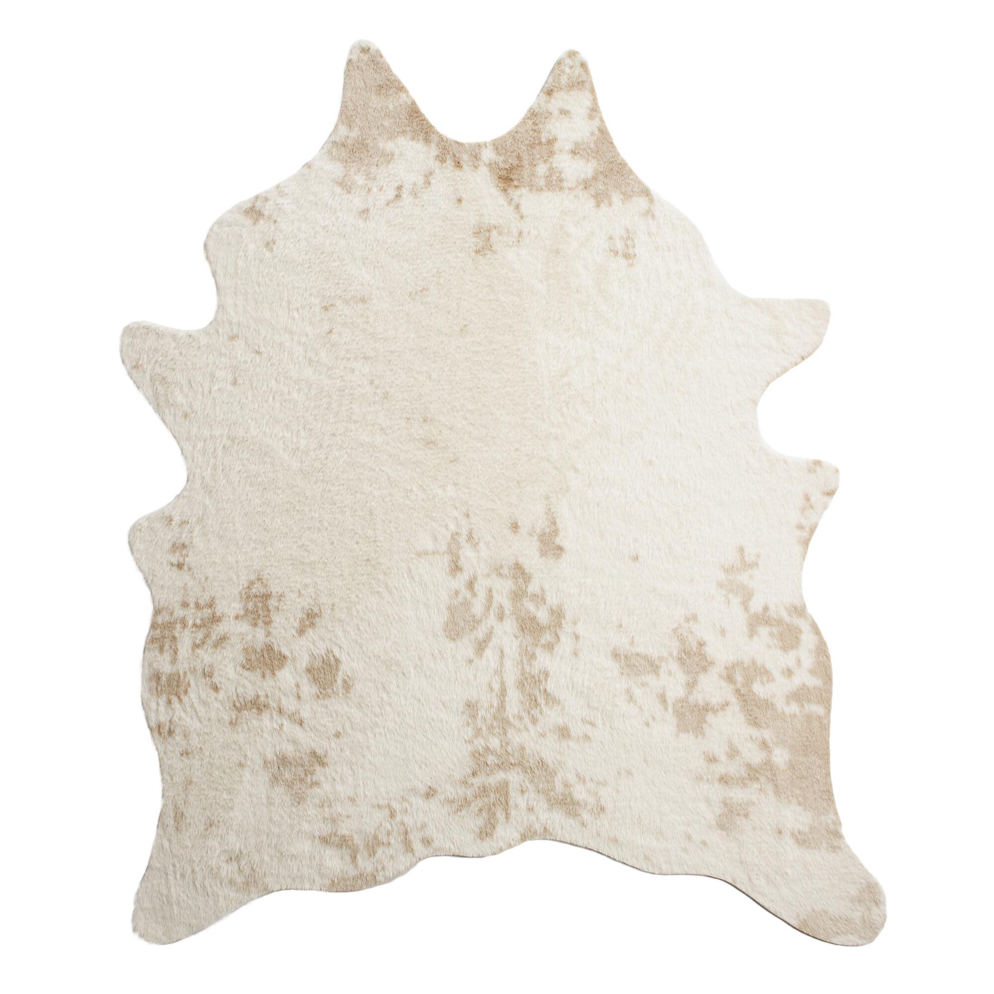 5 39 x6 39 7 ivory faux cowhide area rug world market - Faux animal skin rugs ...