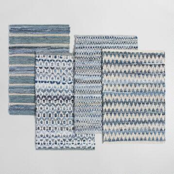 2'x3' Reclaimed Denim and Cotton Chindi Area Rug