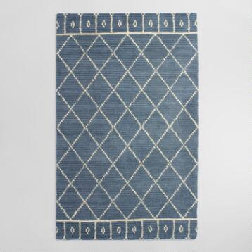 Blue Tufted Wool Faiza Area Rug