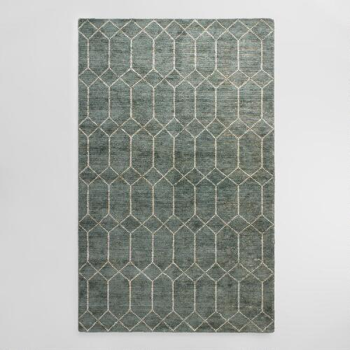 Blue Green Tufted Cotton and Viscose Soren Area Rug