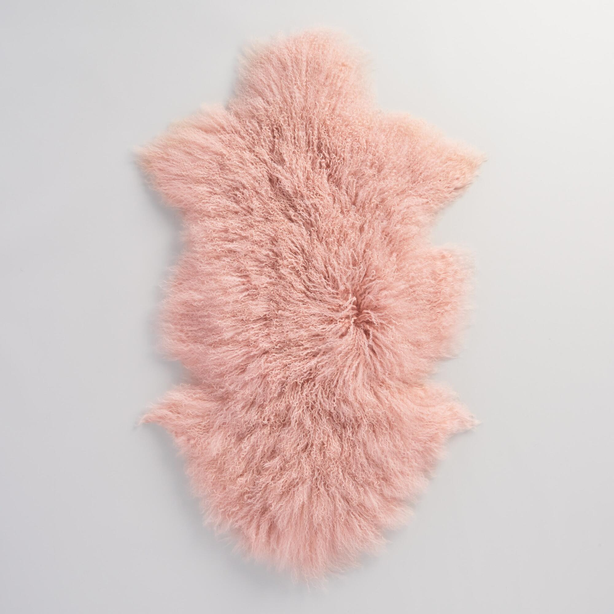 "20""x35"" Blush Mongolian Sheepskin Area Rug"