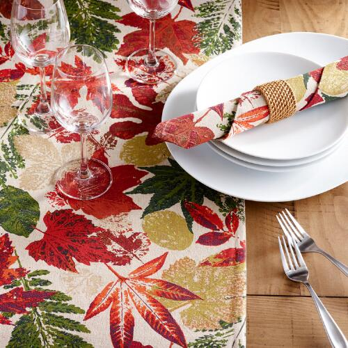 Gold Metallic Leaves Ingrid Table Linen Collection