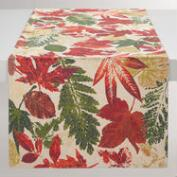 Gold Metallic Leaves Ingrid Table Runner