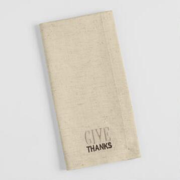 Embroidered Give Thanks Napkins Set of 4