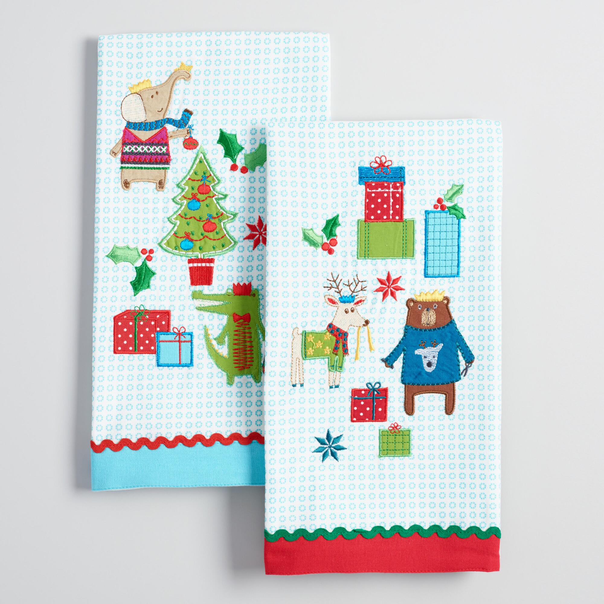 Kitchen Towels Xmas: Embroidered Holiday Animals Kitchen Towels Set Of 2