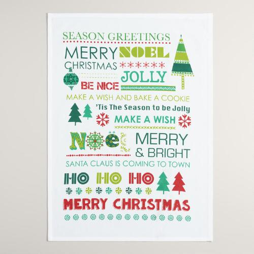 Global Holiday Greetings Kitchen Towel