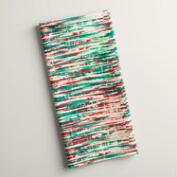 Red and Green Abstract Stripe Kitchen Towel