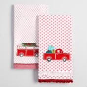 Embroidered Truck and Van Kitchen Towels Set of 2
