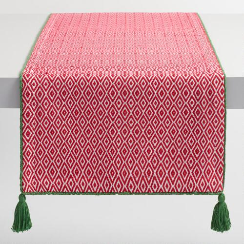 Red and White Diamond Table Runner