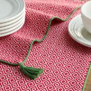 Red and White Diamond Table Linen Collection