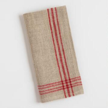 Red Stripe Linen Napkins Set of 4