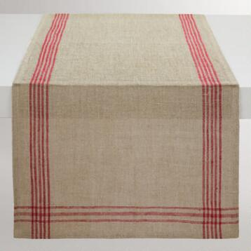 Red Stripe Linen Table Runner
