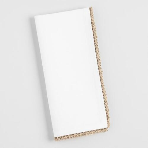 White Napkins with Gold Crochet Trim Set of 4