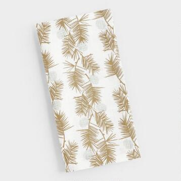 Gold Metallic Pine Needles Napkins Set of 4