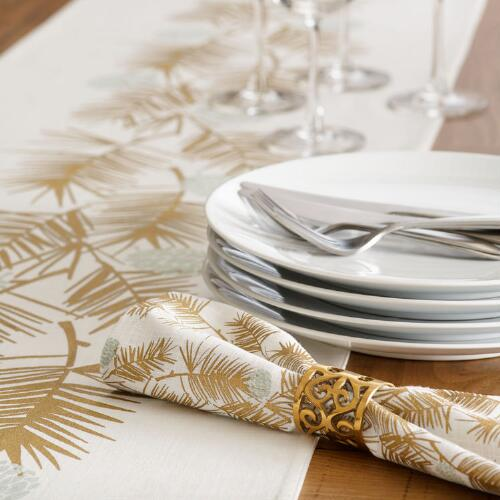 Gold Metallic Pine Needles Table Linen Collection
