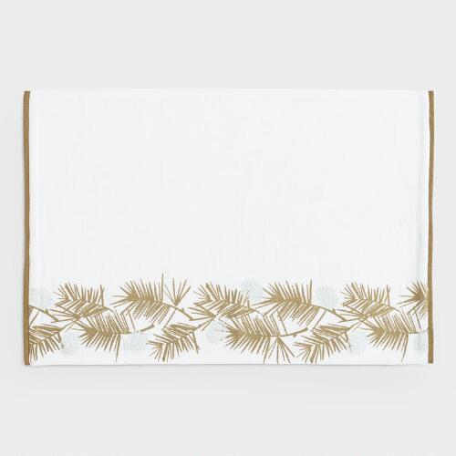 Gold Metallic Pine Needles Placemats Set of 4