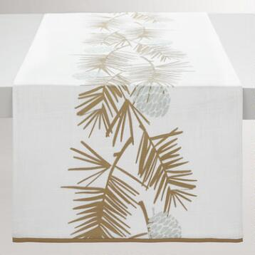 Gold Metallic Pine Needles Table Runner
