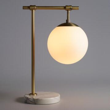 Frosted Glass and Marble Globe Table Lamp