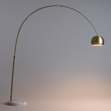 Brass Arc and Marble Jayson Floor Lamp