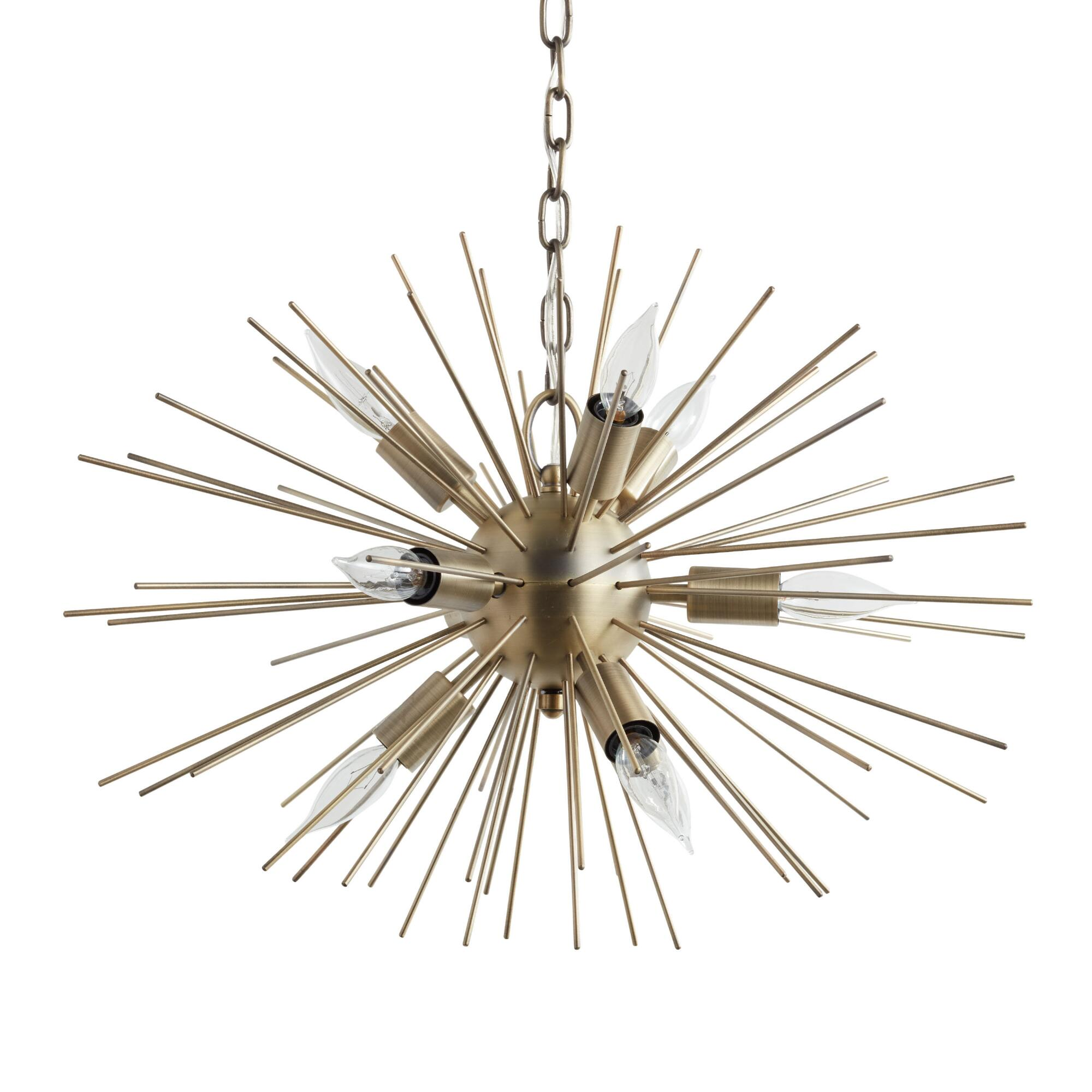 Brass starburst collin chandelier world market for Designer lighting