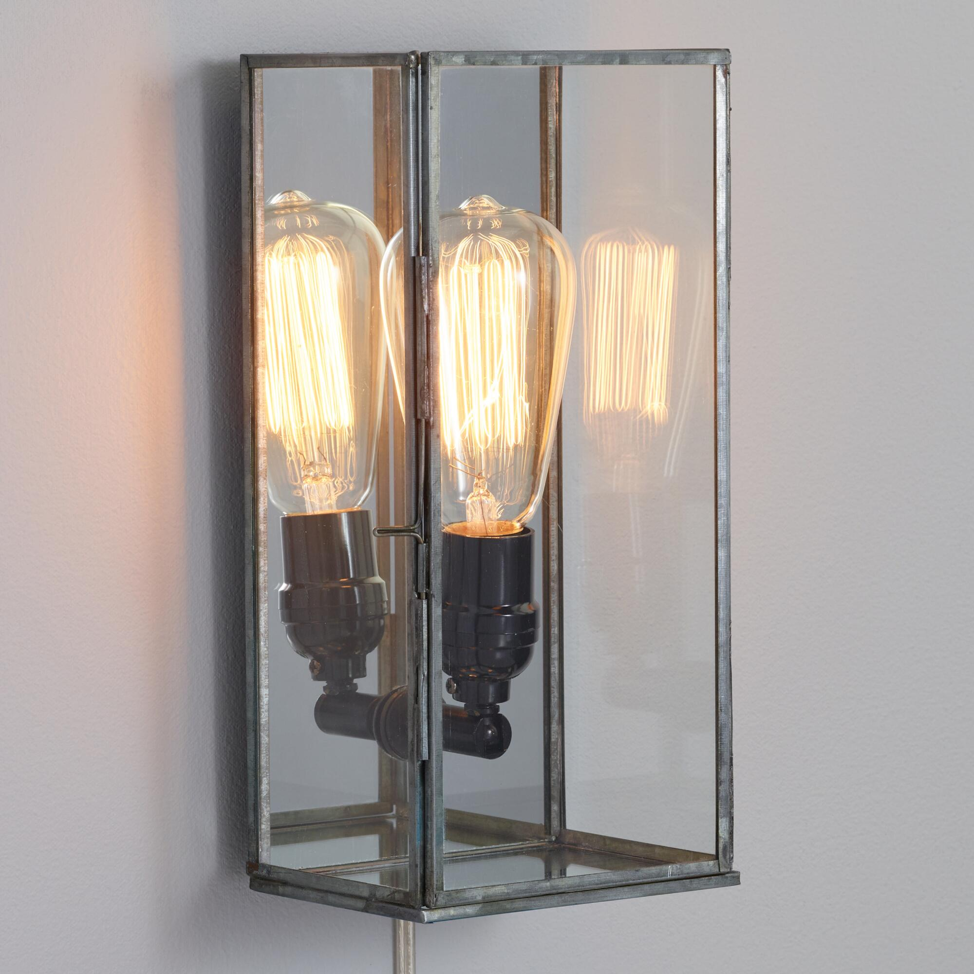 Glass rectangle nora wall sconce world market for Appliques salle de bain ip44